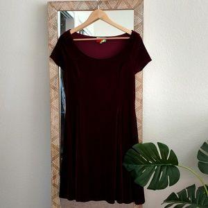ModCloth Burgundy Velvet Dress
